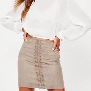MissGuided Mini Pencil Skirt Taupe Lace Detail 10